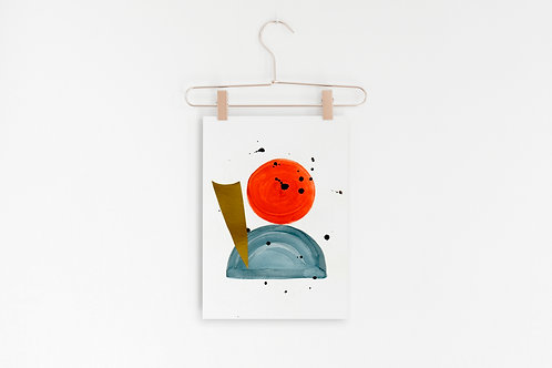 Abstract Mid Century Modern Poster, Minimal Wall Art, Orange, Blue and Gold