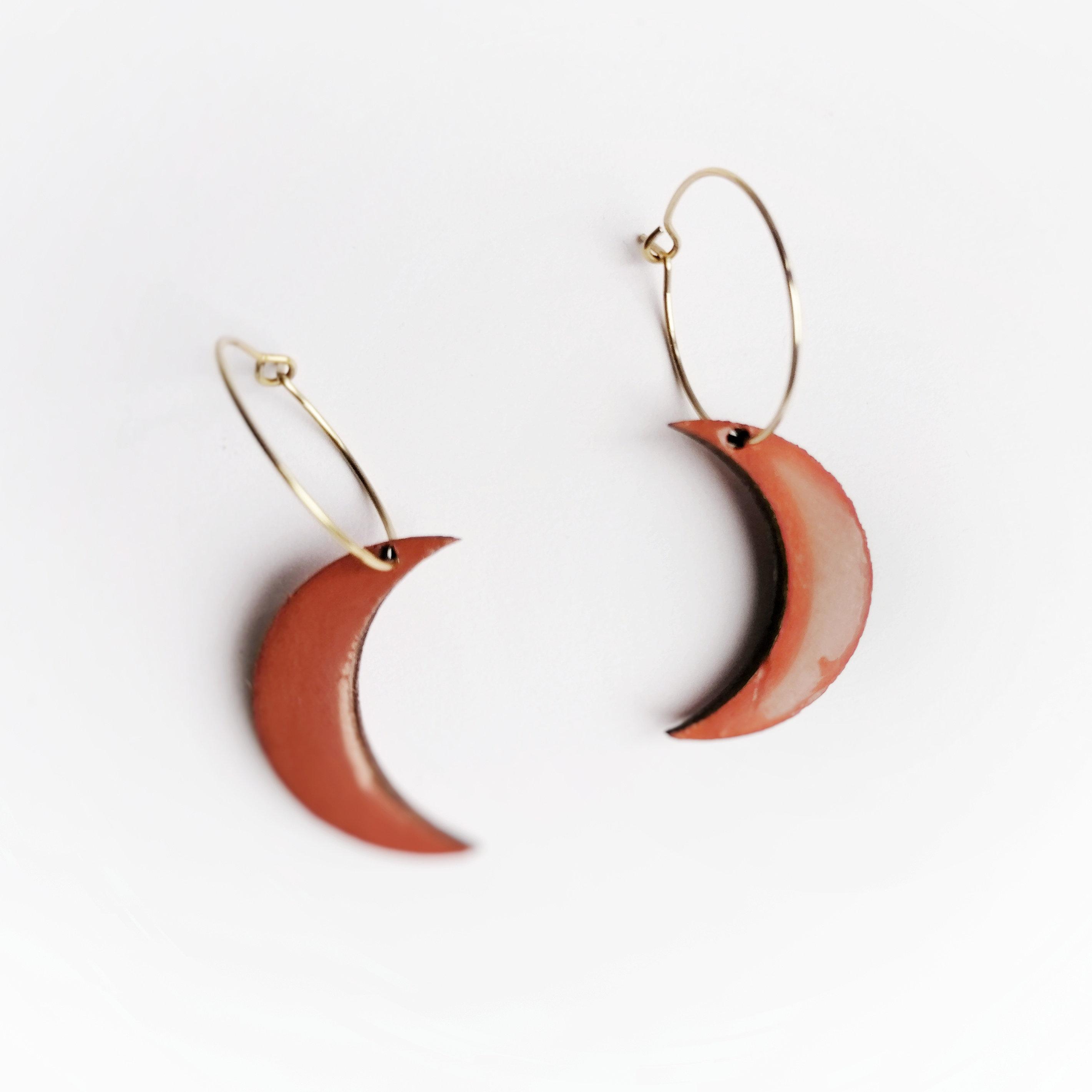 Orange Moon Earrings