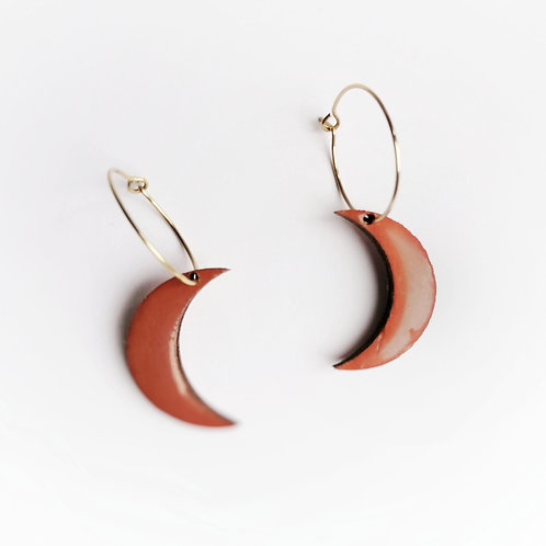 Sunset Orange Crescent Moon  Hoop Earrings