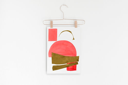 Abstract Mid Century Modern Poster, Minimal Wall Art, Pink and Gold