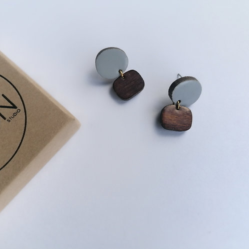 Winter Evening Drop Studs in Pale Blue and Dark Wood