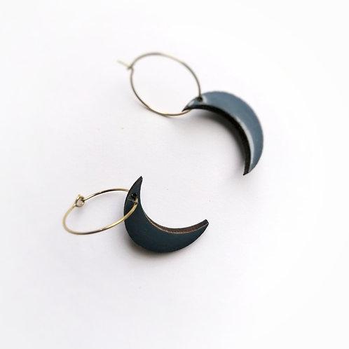 WHOLESALE Dusky Blue Crescent Moon Hoops