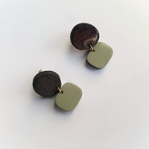 Winter Woods Drop Studs in Moss Green and Dark Wood