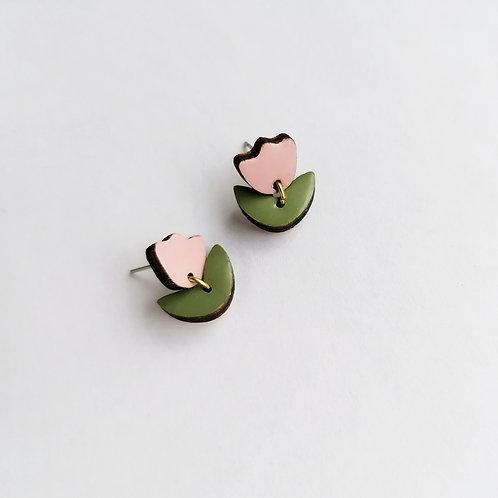 WHOLESALE Little Pink Tulip Drop Studs