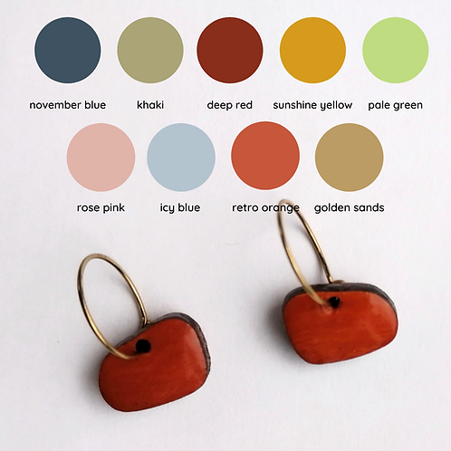 Colourful Abstract Oblong Shapes Mini Hoop Earrings