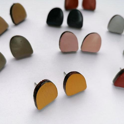 Colourful Abstract Semi-circle Shape Studs
