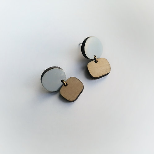 WHOLESALE Winter Morning Drop Studs in Icy Blue and Natural Wood