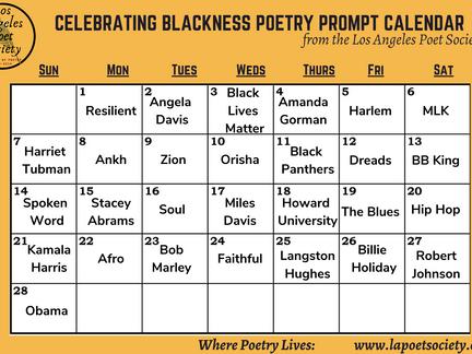 Celebrating Blackness Poetry Prompt Calendar for February