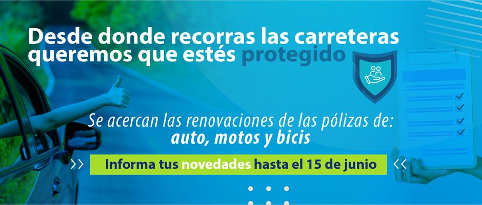 Se acercan las renovaciones de las pólizas de auto, motos y bicis