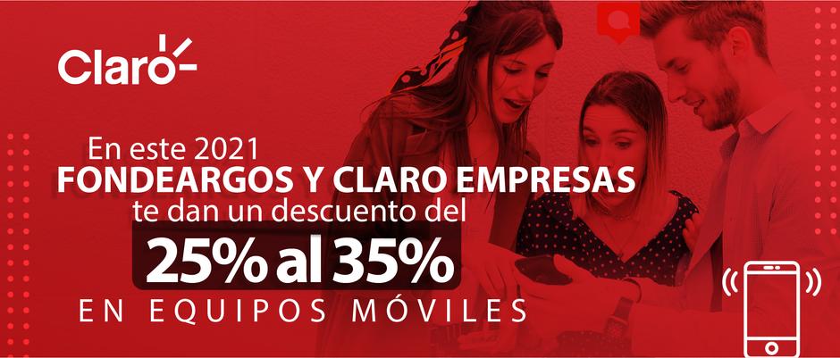 Del 25% al 35% de descuento en equipos móviles con Claro