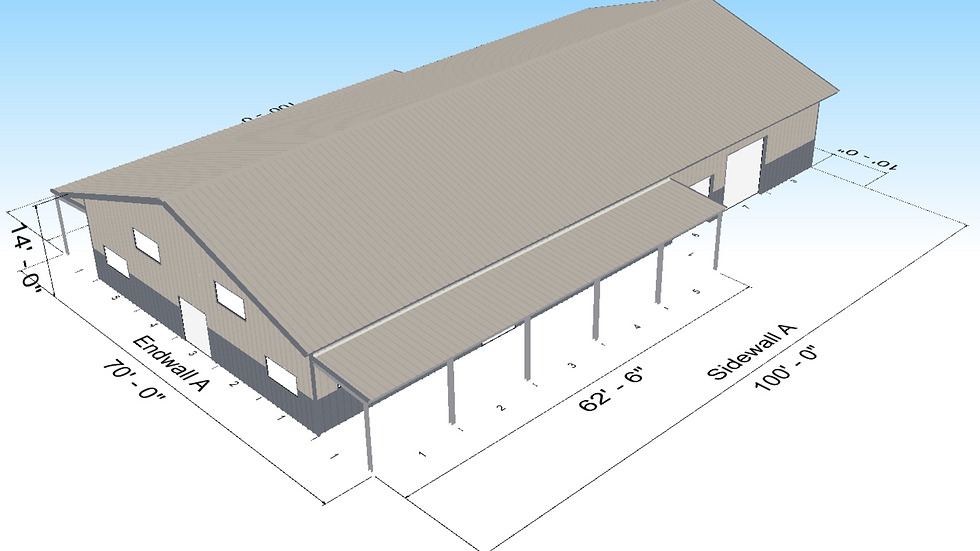 Metal Building 50' x 100' x 14 with 10' lean to porches, 5,000 Square Feet