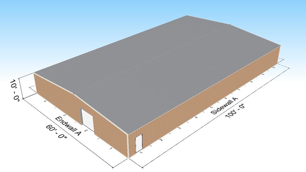 Metal Building 60 X 100 X 10' 6,000 Square Feet