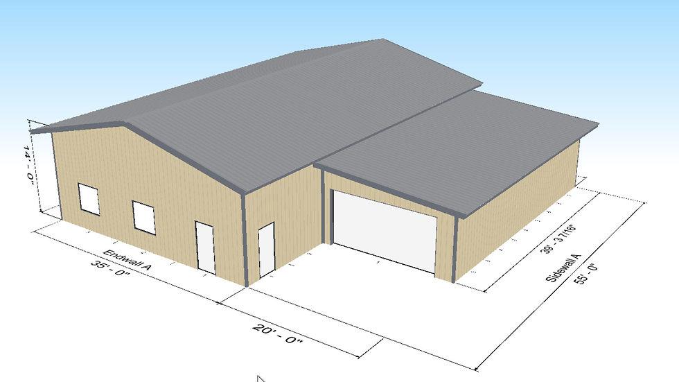 Metal Home Shell 1,925 Square Feet w 800 Square Foot Garage