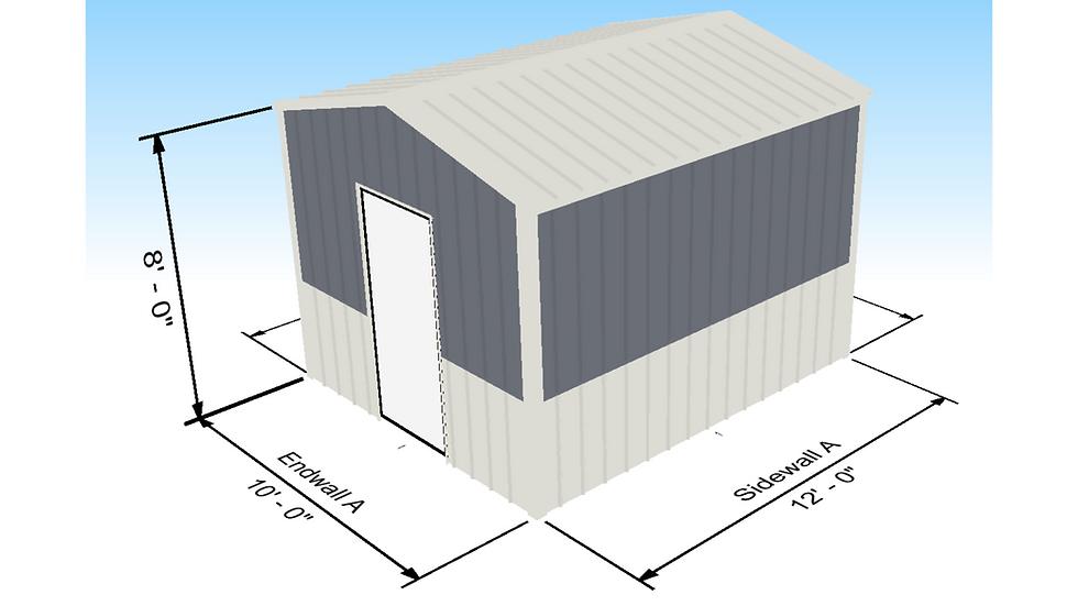 Shed Building 10' x 12' x 8' 3:12 with Walk Door