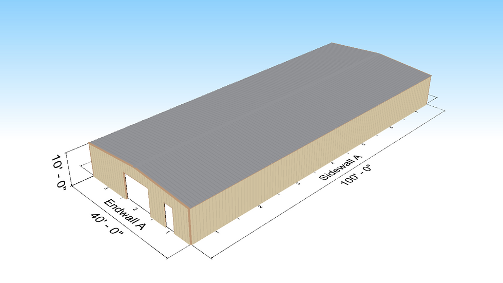 40' x 100' x 10 Metal Building 1:12 Roof Slope