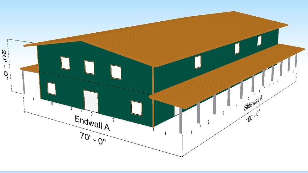 Metal Building 50' x 100' x 20' Two Floor 10,000 Square Feet