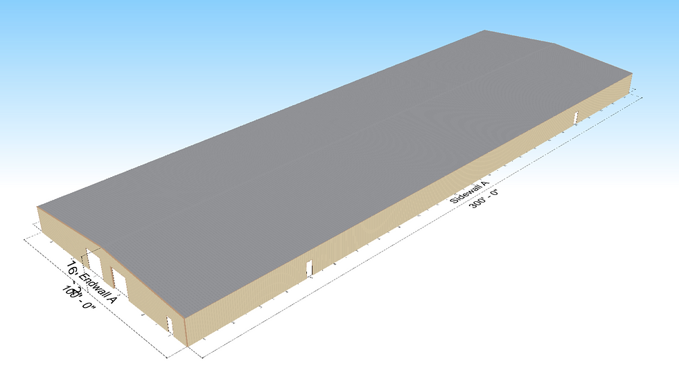100' x 300' x 12' Warehouse 1:12 Roof Slope