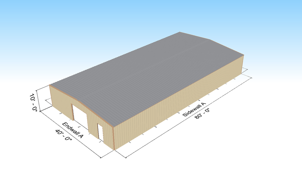40' x 80' x 10 Metal Building 1:12 Roof Slope