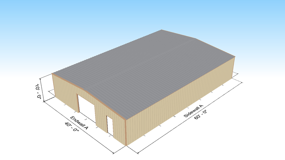 40' x 60' x 10' Metal Building 1:12 Roof Slope