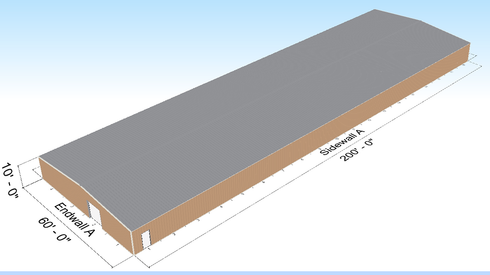 Metal Building 60' X 200' X 10' 12,000 Square Feet Warehouse