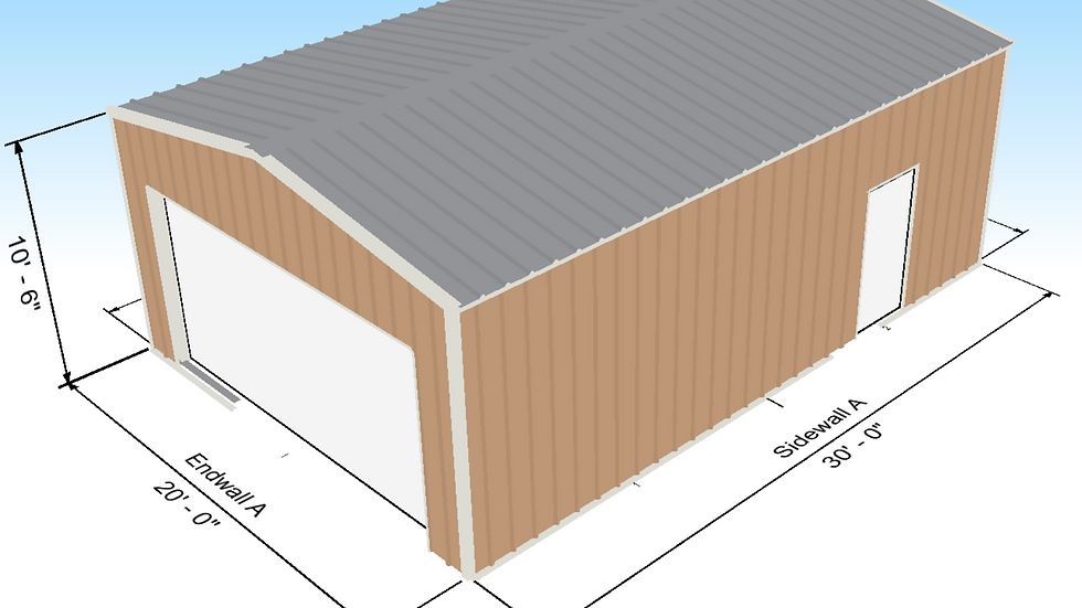 "Metal Building Garage 20 x 30 x 10'-6""600 Square Feet"