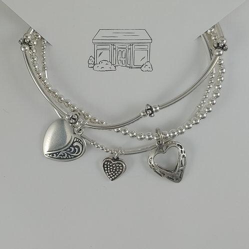 heart charmed stretchy bracelet trio #3