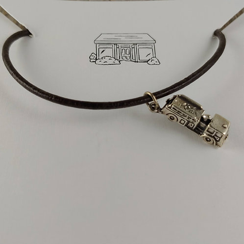 'fire truck' charm on leather necklace