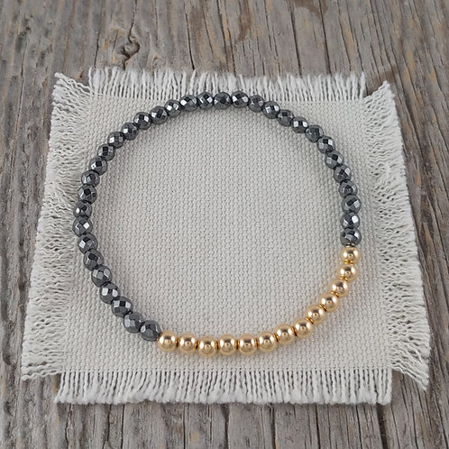 'hematite' & golden stretchy bracelet #2