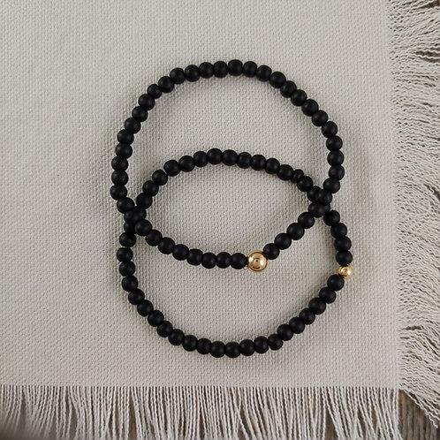 black obsidian stretchy bracelet