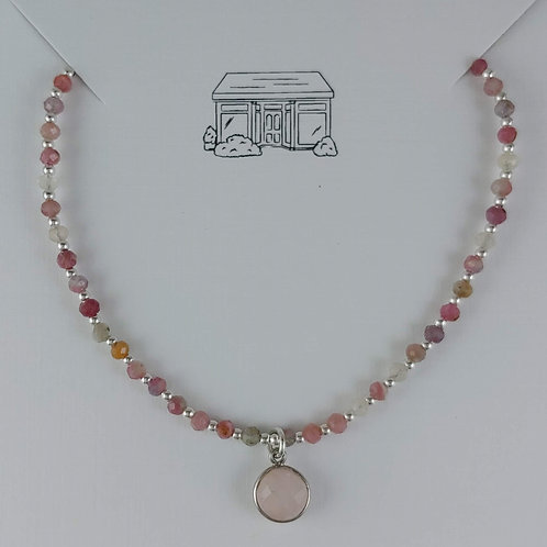 tourmaline & 'rose' quartz necklace