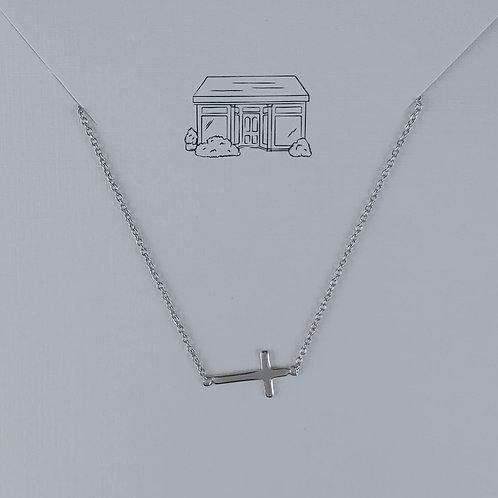 sideways 'cross' necklace
