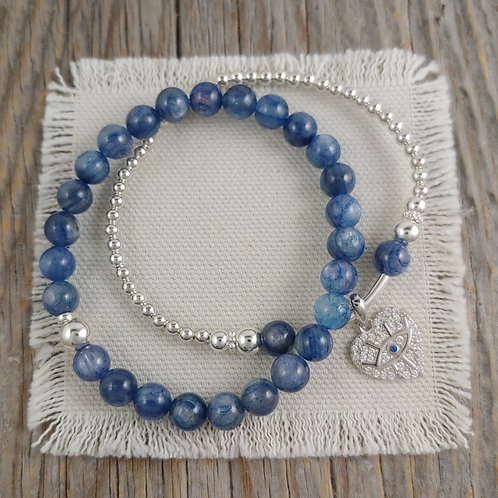 kyanite & evil eye stretchy bracelets