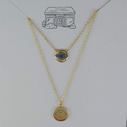 gold evil eye layering necklaces