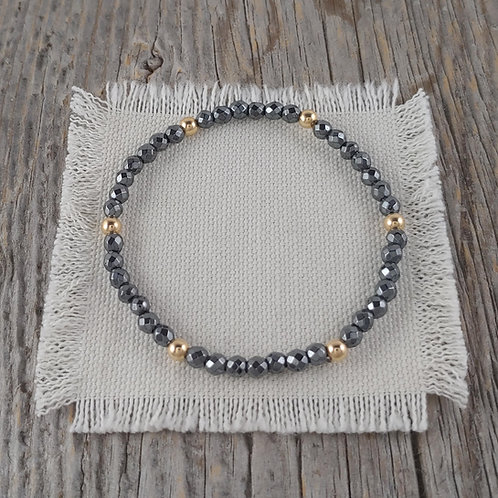 hematite & golden stretchy bracelet #1