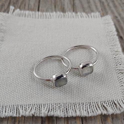 'square' labradorite ring