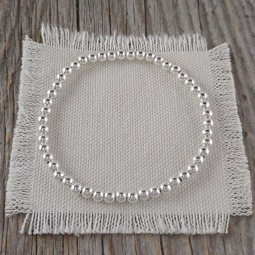 plain '4mm' silver stretchy bracelet