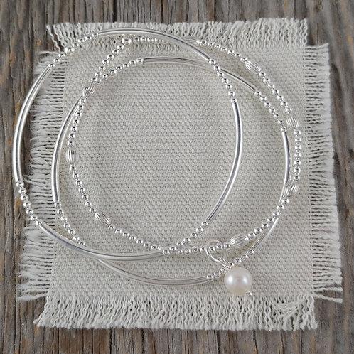 pearl stretchy bracelet trio