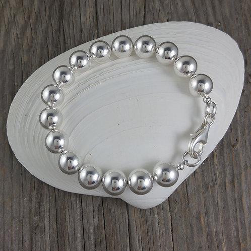 'beaded' sterling silver bracelet