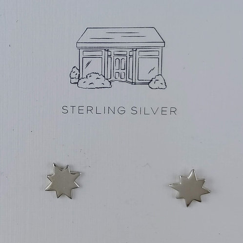 shiny 8 point star stud earrings