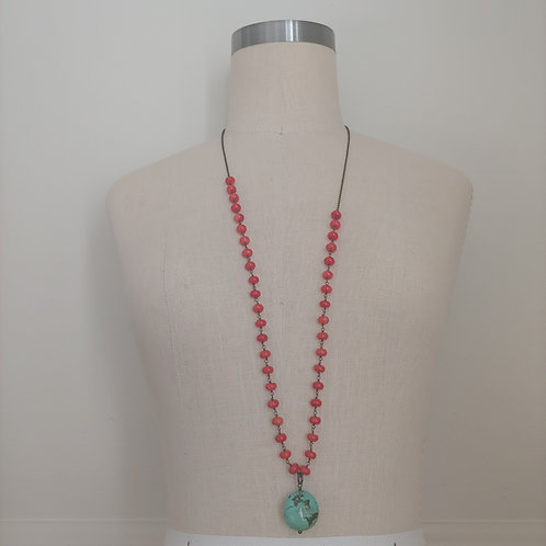 long bamboo & turquoise necklace