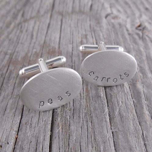 'stamped' oval cuff links