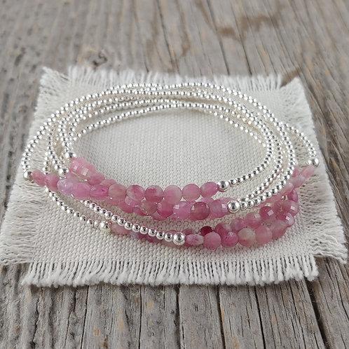 pink 'tourmaline' stretchy bracelet