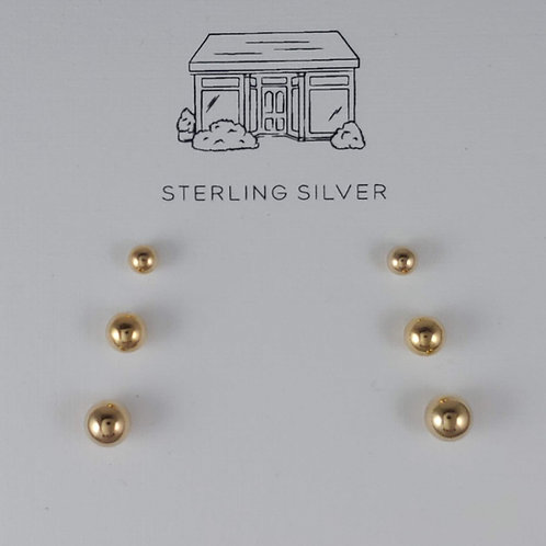trio of gold 'ball' stud earrings