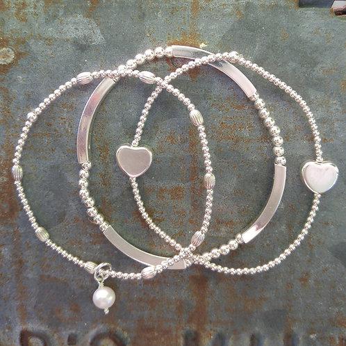 heart stretchy bracelet trio #4