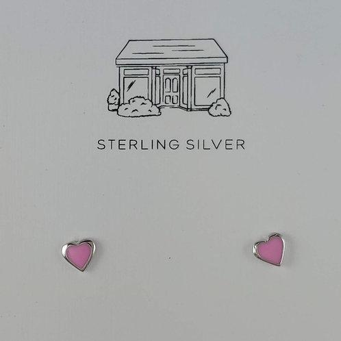pink 'heart' stud earrings
