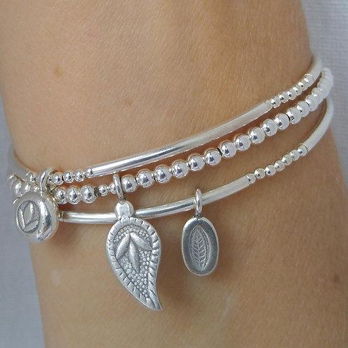 hidden 'lotus' stretchy bracelet trio