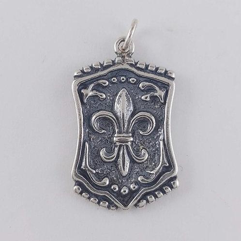 sterling silver 'fleur de lis' tag