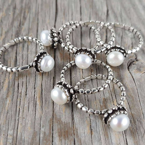 'silver' & pearl ring