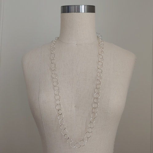 long silver links necklace