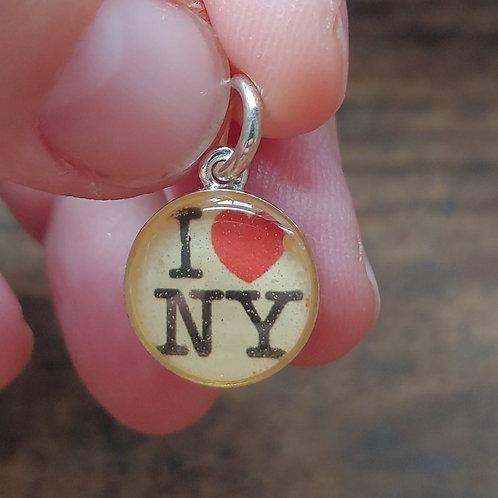 'I love NY' resin charm